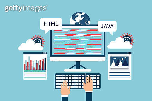 Software development concept, programming and coding