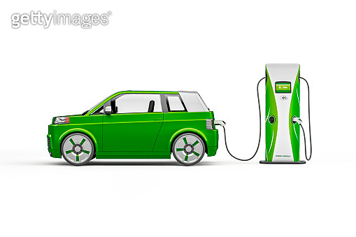 Side Profile of Generic Electric Car, Hybrid Vehicle, Futuristic City Car, Alternative Fuel Vehicle, Electric Vehicle Charging Station
