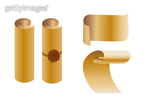 Set of old paper scrolls with a wax seal. Vector illustration isolated on a white background. For design banner, text, template, announcement.