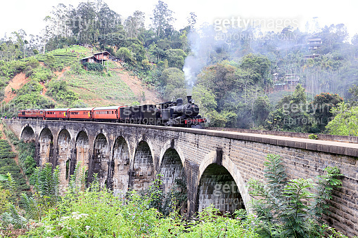 Steam train on the Nine Arches Demodara Bridge
