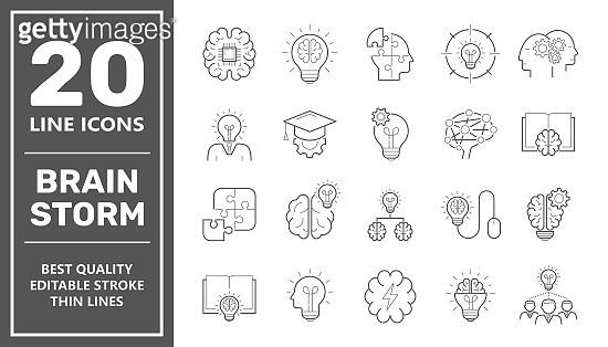 Brainstorming line icons set. Set of brainstorm icons such as Artificial light, brain, lightbulb, creativity, brainstorming, brain, creativity, novel idea, brainstorm. Editable Stroke. EPS 10.