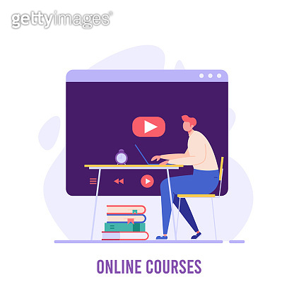 Male student sitting and studying online courses with computer. Online course and webinar. Concept of successful studying, online lesson, modern education. Vector illustration in flat design