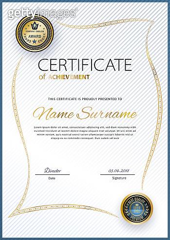 Official white certificate with gold vintage modern border. Business modern design. Gold emblem