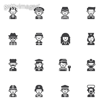 Occupation, profession vector icons set