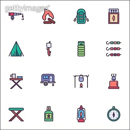 Camping filled outline icons set