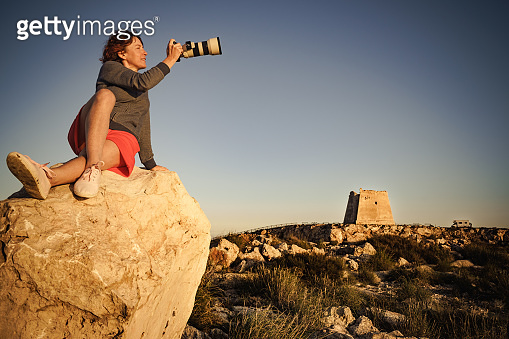 Tourist take photo, Cabo de Gata, Spain