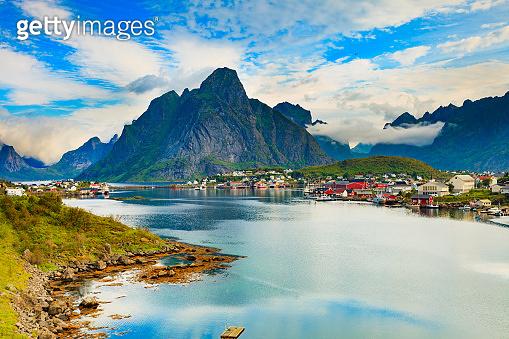 Fjord and mountains landscape. Lofoten Norway