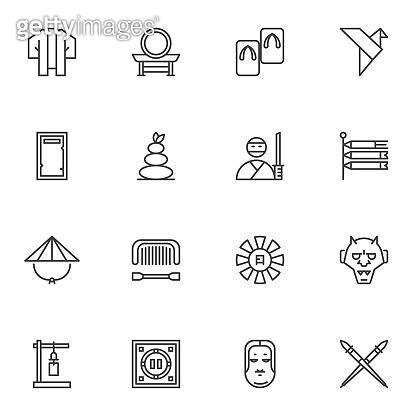 Japanese culture line icons set