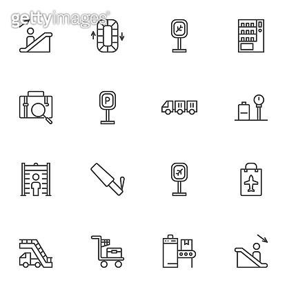 Airport service line icons set