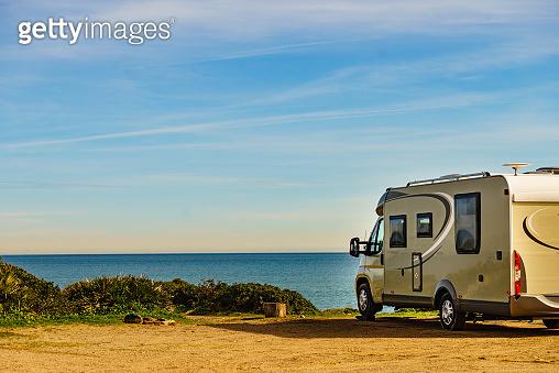 Rv caravan camping on beach