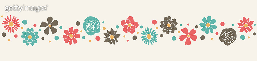 Colourful banner with spring flowers. Mother's Day, Women's Day and Valentine's Day decoration. Vector
