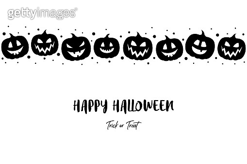 Halloween card with craved pumpkins and text. Vector