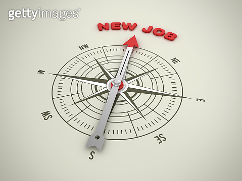 Compass with NEW JOB Phrase - 3D Rendering