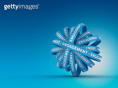 Circular Ribbons with ENGAGEMENT Word - 3D Rendering