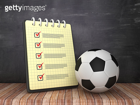 Check List Note Pad with Soccer Ball on Chalkboard Background  - 3D Rendering