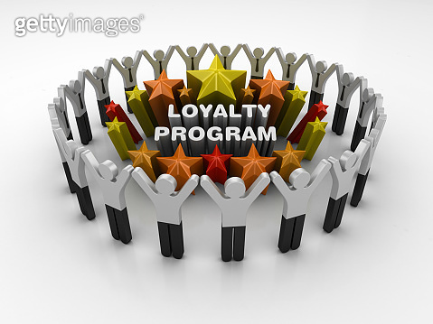Pictogram Teamwork and Colorful Stars with LOYALTY PROGRAM Phrase - 3D Rendering