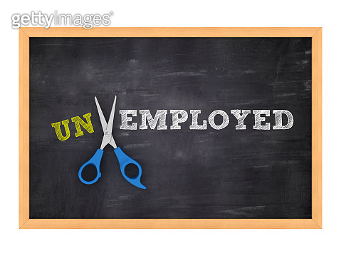 Scissors Cutting UNEMPLOYED / EMPLOYED words on Chalkboard - 3D Rendering