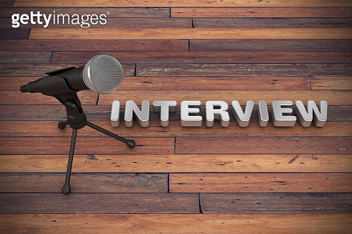 Microphone with INTERVIEW Word - 3D Rendering