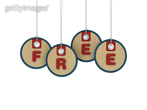 FREE Price Tags Hanging on White Background - 3D Rendering