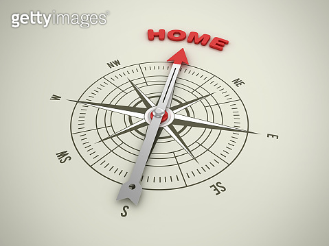 Compass with HOME Word - 3D Rendering