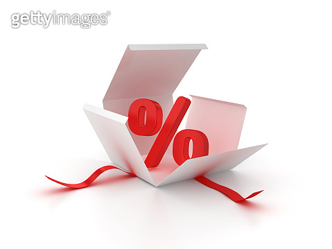 Gift Box with Percentage Symbol - 3D Rendering