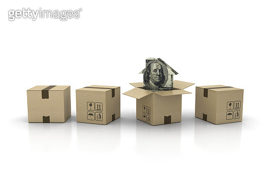 Cardboard Box with Dollar Bill Puzzle House - 3D Rendering