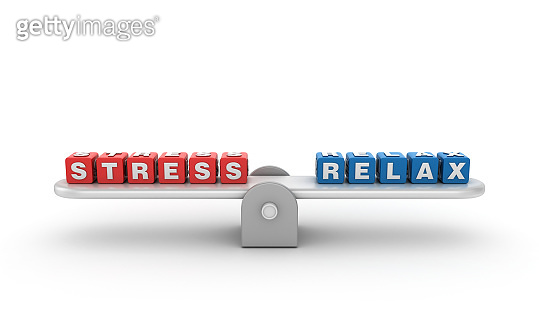 Seesaw with STRESS RELAX Buzzword Cubes - 3D Rendering
