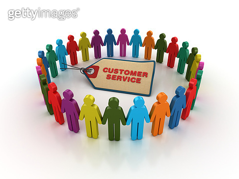 Pictogram Teamwork with CUSTOMER SERVICE Price Tag - 3D Rendering