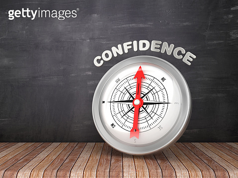 Compass with CONFIDENCE Word on Chalkboard - 3D Rendering