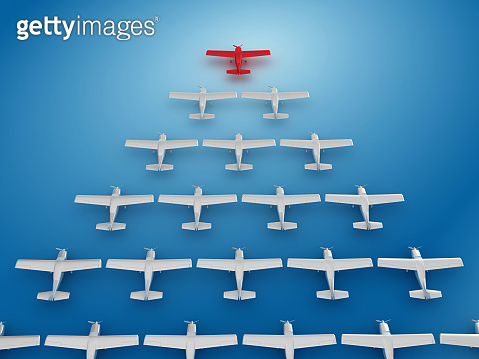 Airplanes Teamwork Concept - 3D Rendering