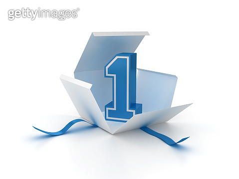 Gift Box with Number One - 3D Rendering