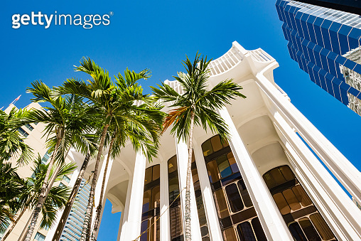 Glass Corporate Office Building Exterior in the Brickell Financial District of Miami Florida