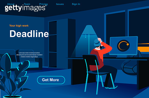 Work deadline isometric landing page. Tired man at workplace in office website template.
