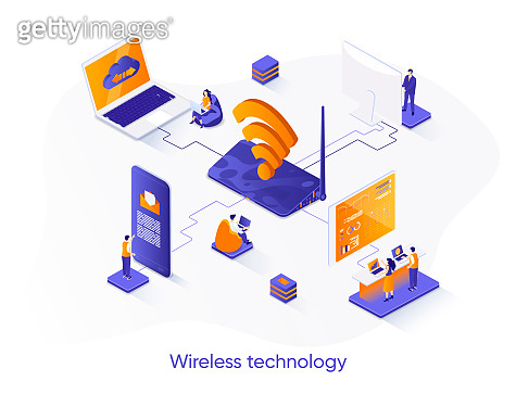 Wireless technology isometric web banner. WiFi network communication isometry concept. Internet sharing 3d scene, gadgets network connection flat design