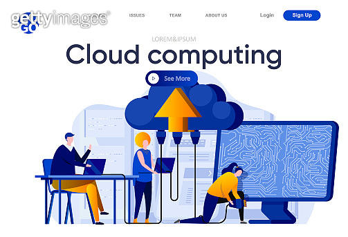 Modern flat web page design template concept of Cloud Technology
