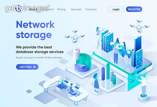 Network storage isometric landing page.