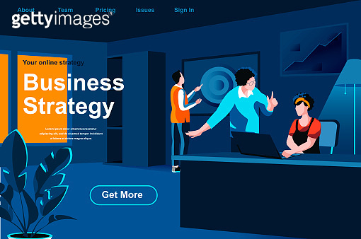 Business strategy isometric landing page. Business people collaborating in office website template.