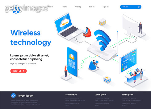 Wireless technology isometric landing page. WiFi network communication, Internet sharing isometry concept
