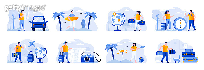 Travel vacation scenes bundle with people characters. Tourists traveling by car or plane, couple with luggage, surfer with surfboard situations.