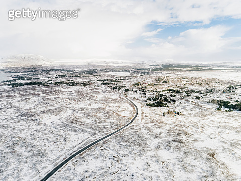 Aerial of Iceland covered in snow