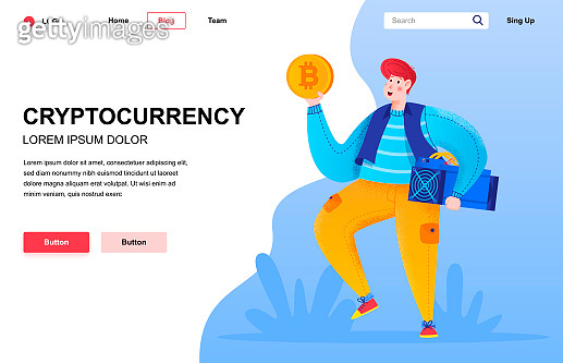 Cryptocurrency flat landing page composition.