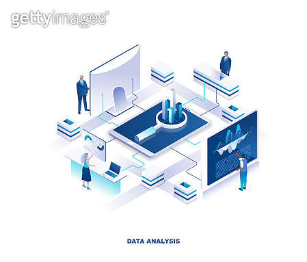 Data analysis, statistical or financial analytics isometric landing page. Concept with tiny people analyzing information on giant computers placed around diagram in center.