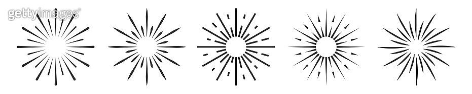 Set of Vintage Sunbusrt isolated on white background. Firework vector icons.