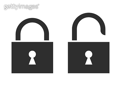 Lock vector icons isolated on gray background. Privacy, secure symbol.