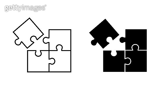 Puzzles vector icon on white background. Solid and linear pictograms to choose from.