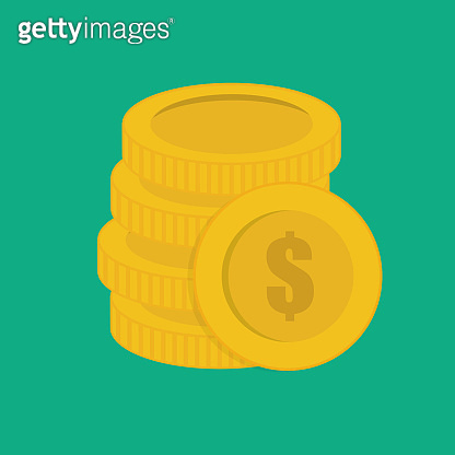 Stacked gold coins vector illustration. Coins icon, coins money. Gold coins modern flat design.