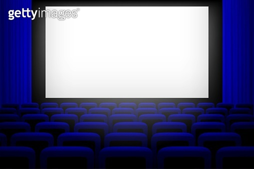 Screen in movie theater with blue curtains and seats background. Empty cinema auditorium vector illustration. Film presentation or performance event. Watching entertainment scene
