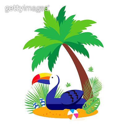 Giant inflatable Blue Tucan on the sunny beach. Pool float toy, ball and palm tree. Summer holidays. Sunny days. Holidays. Time to travel.