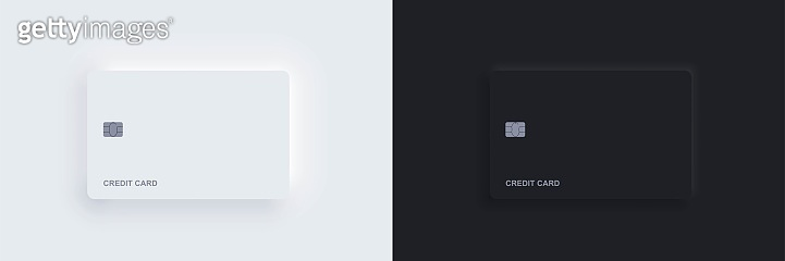 Plastic bank credit card templates with chip and shadow. Realistic white and black isolated objects. Vector Neomorphism digital technology mockup. Contactless, wireless online payment concept.