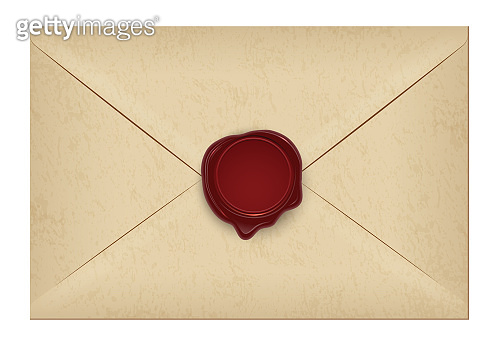 Realistic closed vintage old aged letter envelop with round dark red wax seal stamp. Paper parchment. Ancient postage symbol collection. Post object isolated on white. Vector illustration.